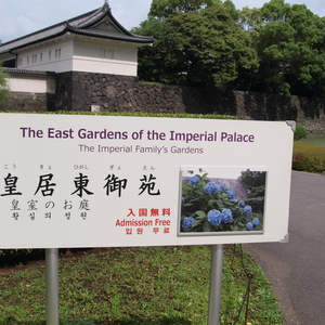 Entrance to the East Gardens of the Imperial Palace, with the mandatory hydrangae