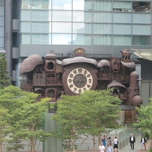 The giant clock at the Nippon Television headquarters